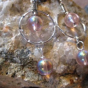 Pink Glass Aurora Borealis Finish Notched Hoop Earrings