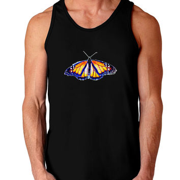 TooLoud Watercolor Monarch Butterfly Dark Loose Tank Top