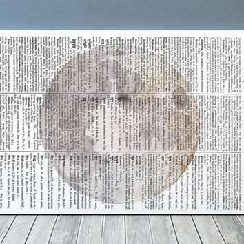 Moon print Dictionary art Watercolor poster Planet print RTA2064