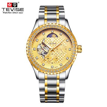 TEVISE Mens Mechanical Automatic Self-Wind Watch Stainless Steel Moon Phase Tourbillon Luxury Gold Wristwatches T807C with tool