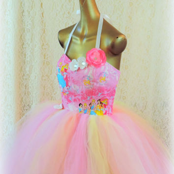 Adult tutu dress, sweet 16 princess tutu dress, pink yellow white tutu dress, prom dress, disney princess party, adult disney tutu dress