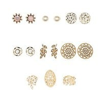 EMBELLISHED FILIGREE RINGS & EARRINGS - 9 PACK
