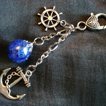 Nautical Anchor Fried Marble Rudder Love Dark Blue Keychain
