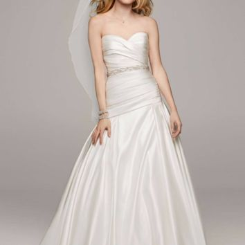 Strapless Satin A Line Gown with Ruched Bodice - Davids Bridal