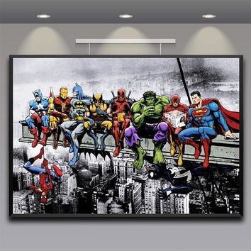 Superheros Marvel DC Comics Pop Hot New Top Art Print Poster Silk Light Canvas Painting Wall Picture Home Decor