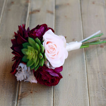 Succulent Plum Burgundy Silk Bridesmaid Bouquet with Dahlias