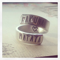 Hakuna Matata ring it means no worries  //The original  one available in copper, aluminum, sterling silver, brass or aluminum