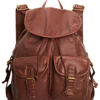 Washed Faux Leather Backpack