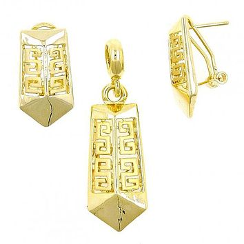 Gold Layered 10.59.0224 Earring and Pendant Adult Set, Greek Key Design, Matte Finish, Gold Tone