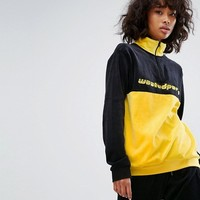 Wasted Paris High Neck Half Zip Sweatshirt In Colour Block Velour at asos.com