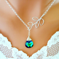 PEACOCK NECKLACE Wedding Necklace Aqua Sphinx with Branch - Wedding Jewelry | Bridesmaid Jewelry |