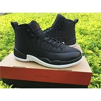 "Air Jordan 12 ""Black Nylon"" Basketball Shoes 41-47"