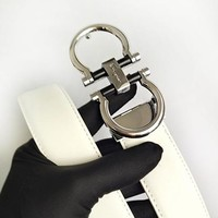 Ferragamo fashion casual men's and women's belts are hot sellers White belt+Silvery buckle