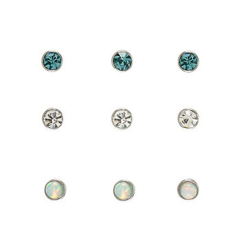 Steel Clear Turquoise Opal Nose Stud 9 Pack