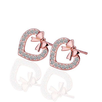 18K Rose Gold Heart Shaped Bow Tie Stud Earrings Made with Swarovksi Elements