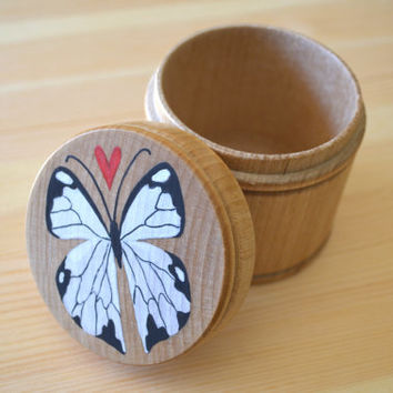 Butterfly wood box, hand-painted box, one of a kind, round wood box, mothers day gift