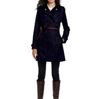 Tommy Hilfiger Women's Andrea Trench Coat, Midnight Navy, X-Large