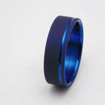 Sandblasted Titanium ring with Electron Blue pinstripe,  Handmade titanium wedding band