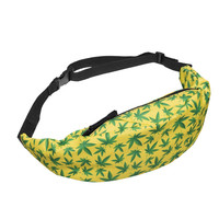 Weed Yellow 3D Printing waist bag 2016 Fashion New fanny pack who cares rinoneras money belt bag men woman casual bags unisex