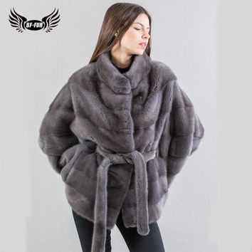 BFFUR Woman Winter 2018 Real Fur Coats Sale Mink Coats For Women Genuine Thick Warm Regular Full O-Neck Full Pelt Fashion Solid