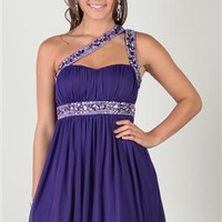 One Shoulder Homecoming Dress with Keyhole Front and Beaded Trim