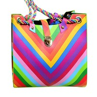 2016 New Fashion Women Rainbow Striped Rope Bag Shoulder Crossbody Faux Leather Tote Purse Lady Messenger Satchel Bag