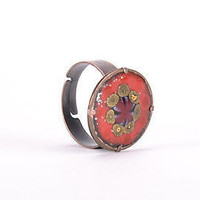 Copper handmade ring beatiful original present fine author's women's accessories