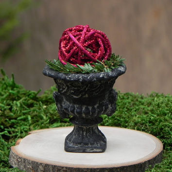 Fairy Garden Christmas Urn miniature with red glitter twig ball accessories for terrarium or dollhouse