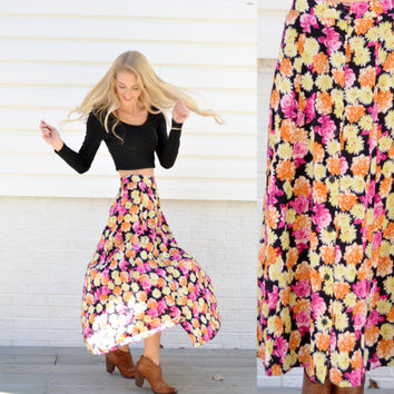 Vintage My Pieces Floral Skirt Yellow Orange Pink Rose Flower Patterned Skirt Buttons Down Front Adorable Floral Maxi Skirt Size XS S