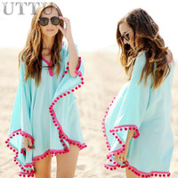 UTTU Beach Cover Up Women Tassel Trim Bikini Swimsuit Cover Ups Cotton Beachwear Bathing Suit Cover-ups 2016 Newest XL Plus size