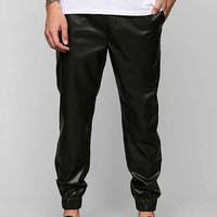 Feathers Lightweight Faux-Leather Jogger Pant - Black
