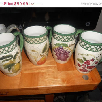 20% Store Wide Sale Vintage set of 4 coffee mug large or could be small pitchers raymond waites