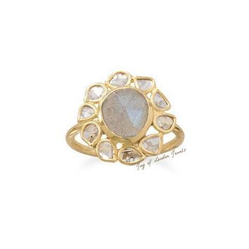 14K Yellow Gold Natural Polki Diamond & Labradorite Floral Ring