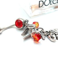 Good Luck Elephant and Swarovski Crystals Belly Button Ring, Sexy Beach Body Jewelry, Garnet Birthstone