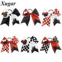 7'' Cute Children Boutique Printed Glitter Cheer Bow With High Quality Elastic Bands For Pretty Girls