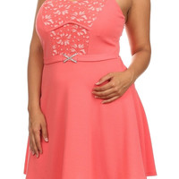 Solid Lace A Line Dress - Coral - Plus Size