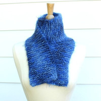 knit scarf blue winter soft plush warm blueberry