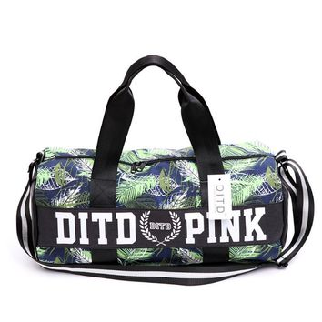Victoria pink sports fitness yoga package hold-all duffel bag Green leaf