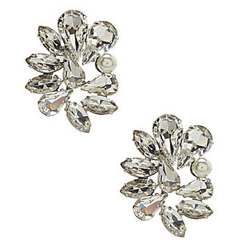 Belle Badgley Mischka Mixed Rhinestone Earrings - Silver/Pearl