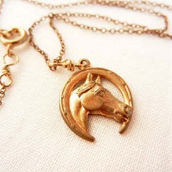 Horse charm necklace - raw brass horse shoe charm on vintage raw brass chain