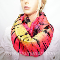 Infinity silk scarf Hand dyed wrinkled Habotai Silk Scarf Fruit Black Tiger