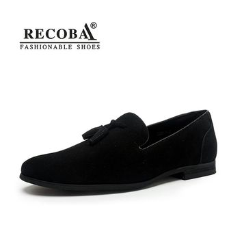 Brand Men casual loafers plus size 11 black velvet suede leather tassel penny loafers moccasins slip ons wedding dress loafers