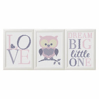Baby girl cross stitch pattern pdf Owl nursery art animals set of 3 Dream Big Little One Modern Cross stitch Animals Pattern Birds diy gift