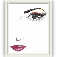Woman Face sketches, Watercolor painting,  print, fashion, beauty, makeup, wall decal, poster decor, decals art, sketch, girl lip lips eyes