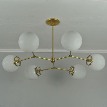 Glass Globe Helix Chandelier