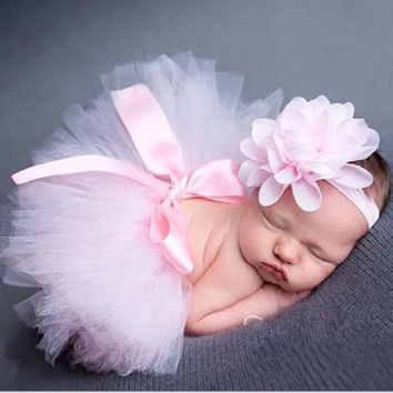 Newborn Photography Props Infant Costume Outfit Cute Princess Handmade Crochet Flower Cap Baby Girl Summer Dress