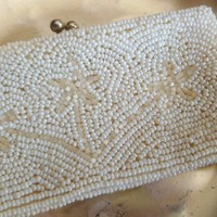 Vintage Beaded Change Purse, Pearl Seed Beads with Flowers