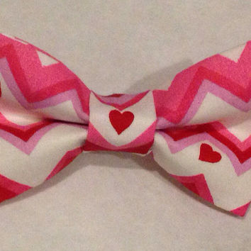 Chevron Valentine's Day Bow Tie- Valentine's Day Hair Bow- pink and purple with Red Heart - Baby, Toddler, Child