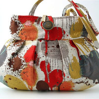 colorful handbag- small tote -purse- sexy pleated bag-  shoulder bag , italian tapestry