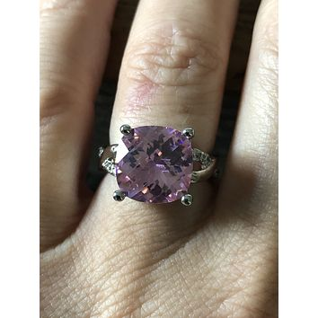 A 4.9CT Cushion Cut Checkerboard Pink Russian Lab Diamond Ring